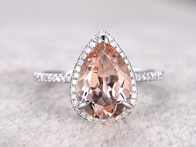 3df903e05f9825 8x12mm Natural Pear Shaped Cut Peach Pink Morganite Gemstone Halo Diamond  Engagement Ring Bridal Propose Proposal Promise Wedding Rings Anniversary  Ring ...