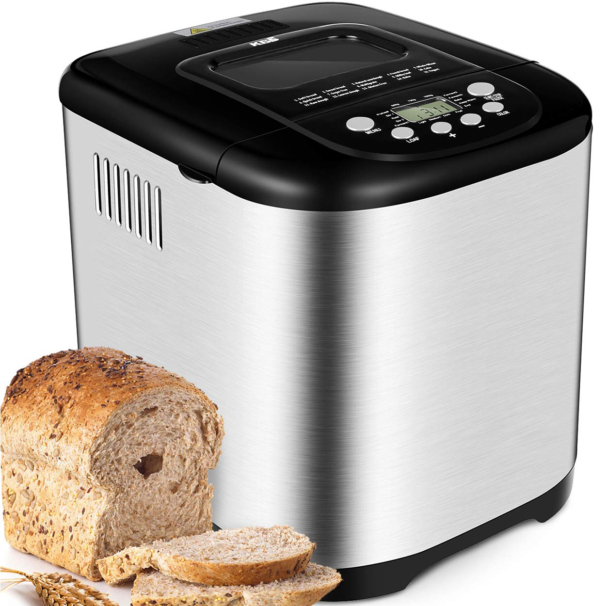 KBS Upgraded Automatic Bread Maker, 2LB Programmable Stainless Steel Bread Machine, Large View Window LCD Display, 3 Loaf Sizes 3 Crust Colors, 15 Hour Delay Time& 1 Hour Keep Warm, Detachable Lid by KBS