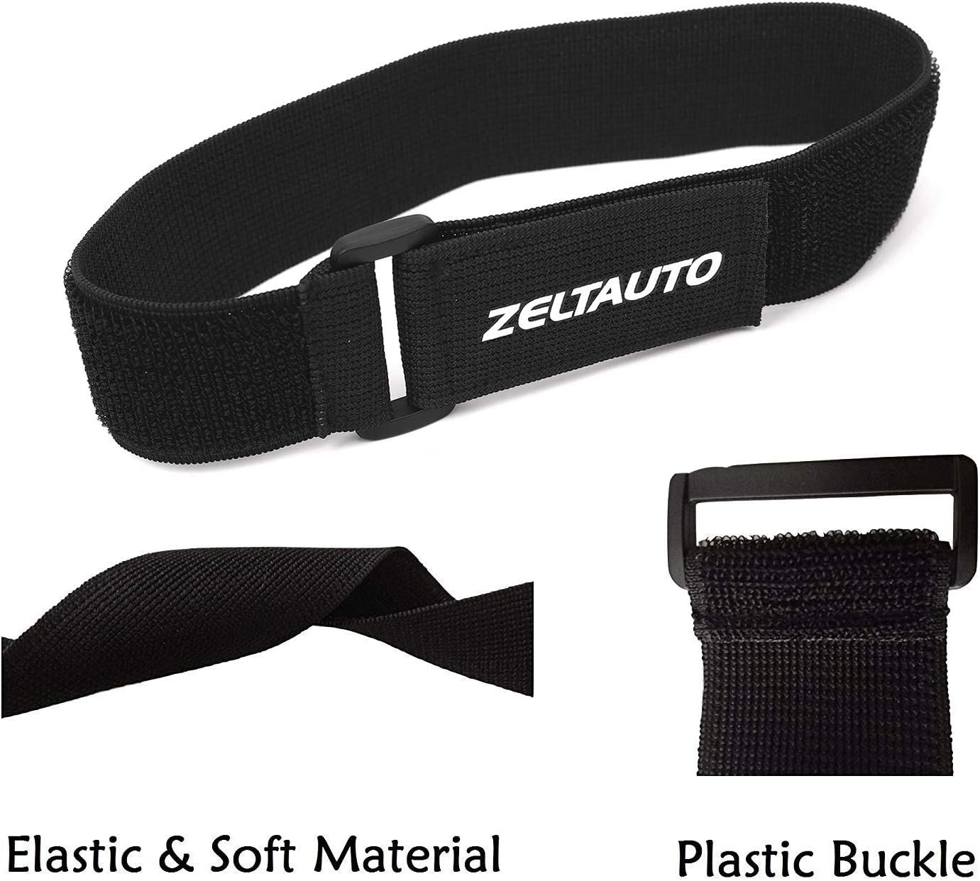 4 Pcs, 1.5 x 16 In Fastening Magic Strap with Plastic Buckle End Black Zeltauto Elastic Hook and Loop Cable Tie