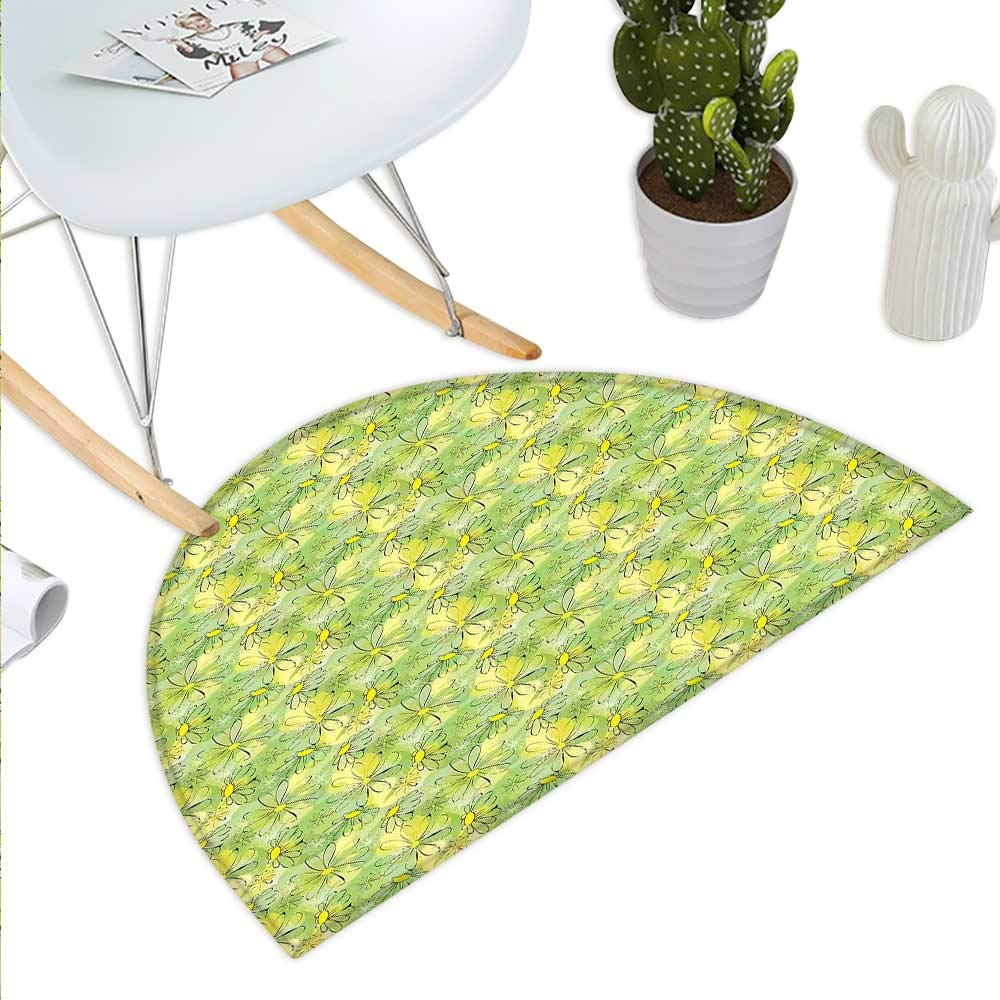 color07 H 39.3  xD 59  Floral Semicircle Doormat Doodle Style Mother Earth Background with Various Leaf Dandelions Tribal Boho Design Halfmoon doormats H 27.5  xD 41.3  Multicolor
