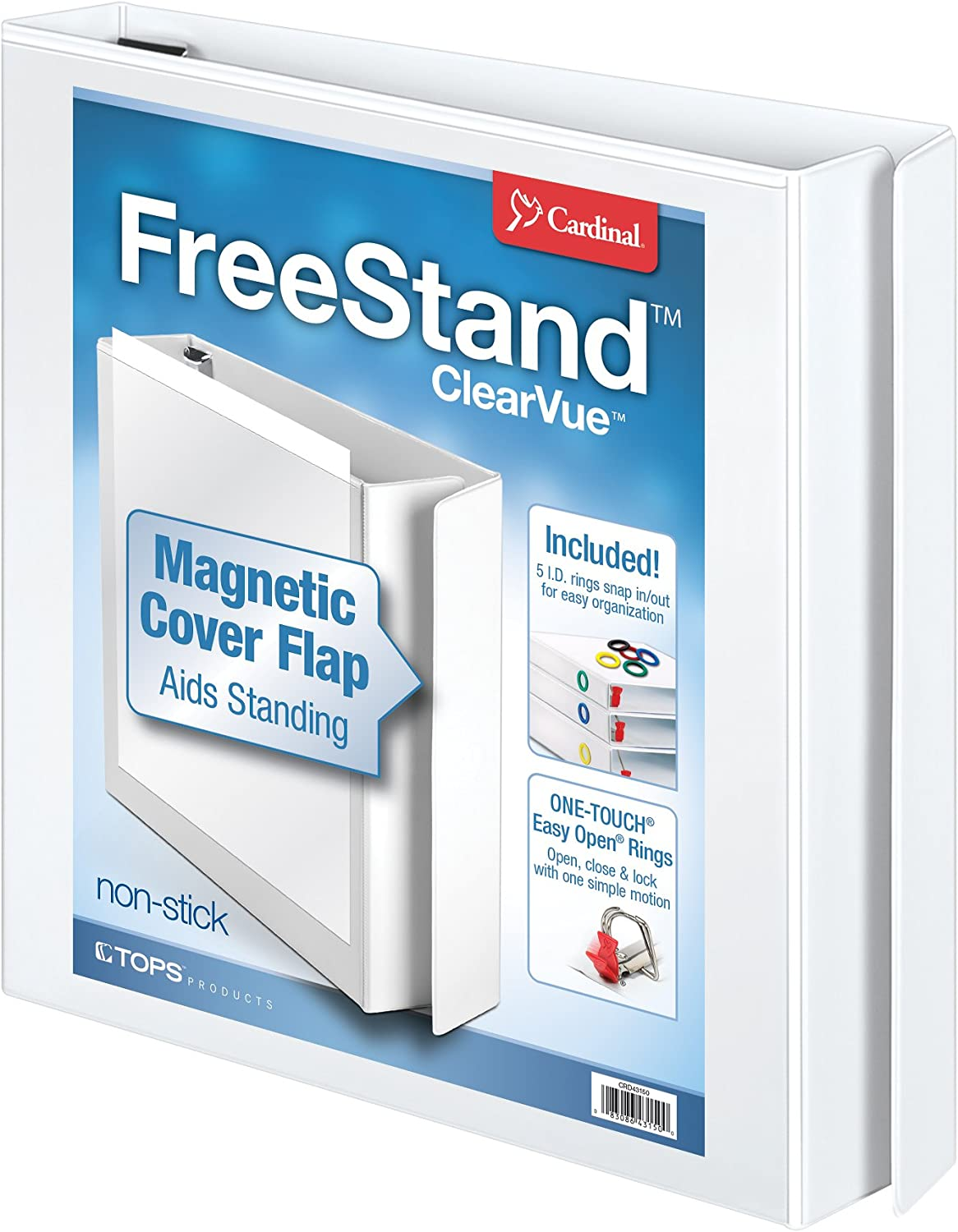 Cardinal 3 Ring Binder, 1 Inch FreeStand Binder with Magnetic Cover Flap, Shelf Pull and 5 Color-Coded Rings, ONE-TOUCH Easy Open Locking Slant-D Rings, Holds 250 Sheets, White