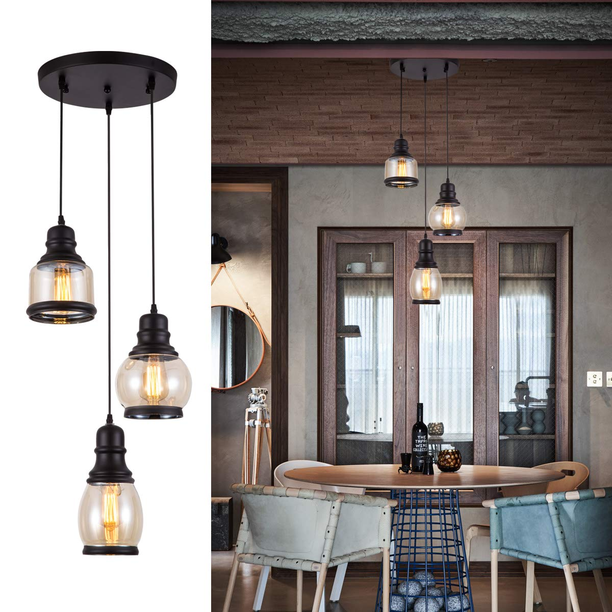 Pendant Light with Tawny Glass Jar Shade Matte Black 3-Lights Adjustable Hanging Lighting Fixture, Industrial Antique Traditional Pendant Lamp for Home, Kitchen Island, Dining Room, Foyer, Farmhouse