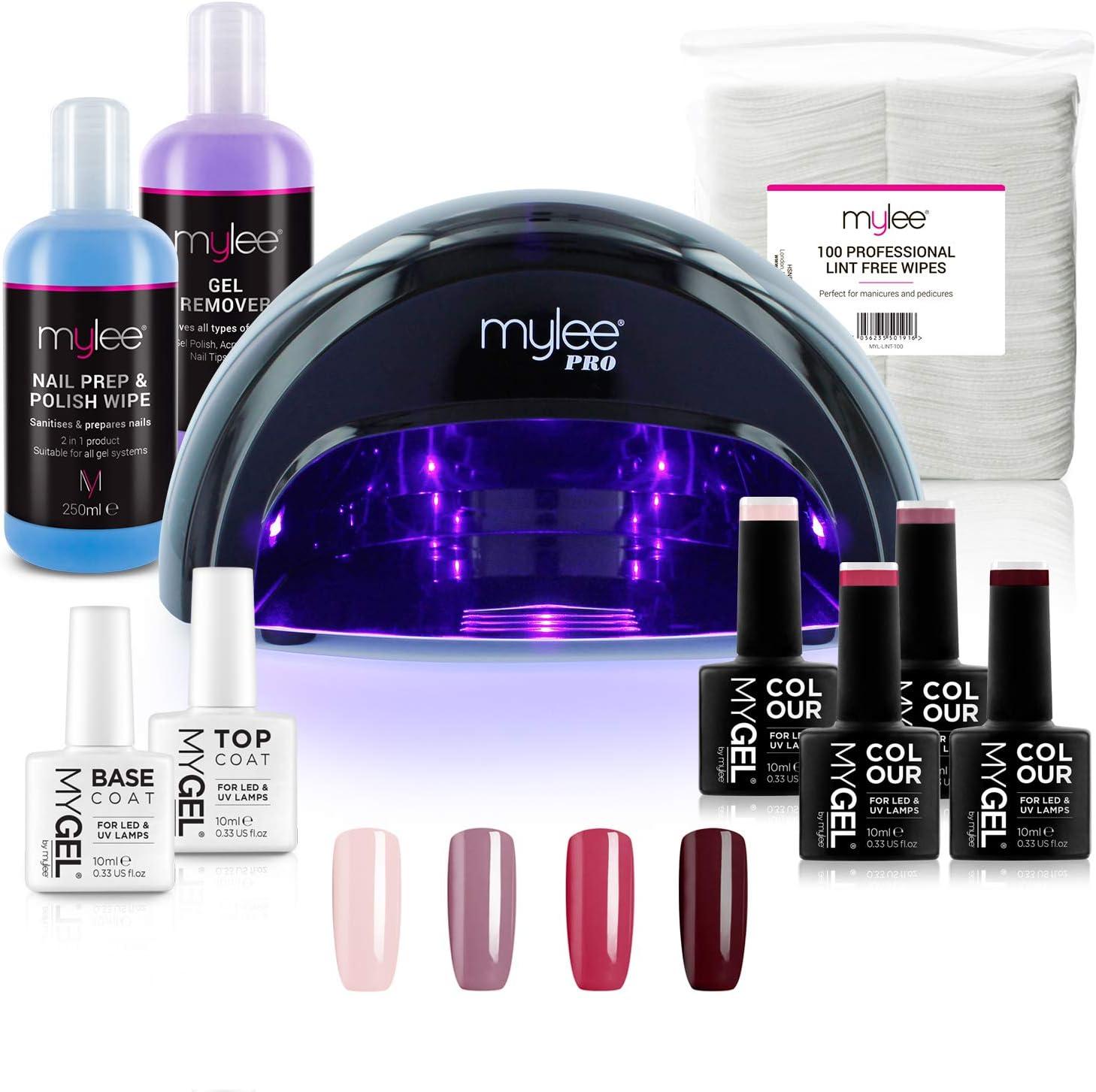 Kit Profesional LED Mylee para barniz de uñas, 4x colores MYGEL, capa superior e inferior, lámpara LED de curado convexo Mylee PRO Series, Prep & Wipe, removedor de gel (Negro)