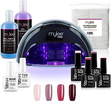 Mylee Complete Professional Gel Nail Polish Led Lamp Kit 4x Mygel Colours Top Base Coat Mylee Pro Salon Series Convex Curing Led Lamp Prep