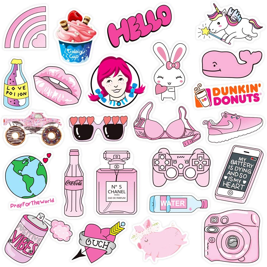 PPOGOO Stickers for Water Bottles, 50 Pcs,Vsco Girl Stickers, Decals Laptop, Waterproof Vinyl, Aesthetic,Trendy Stickers for Teens