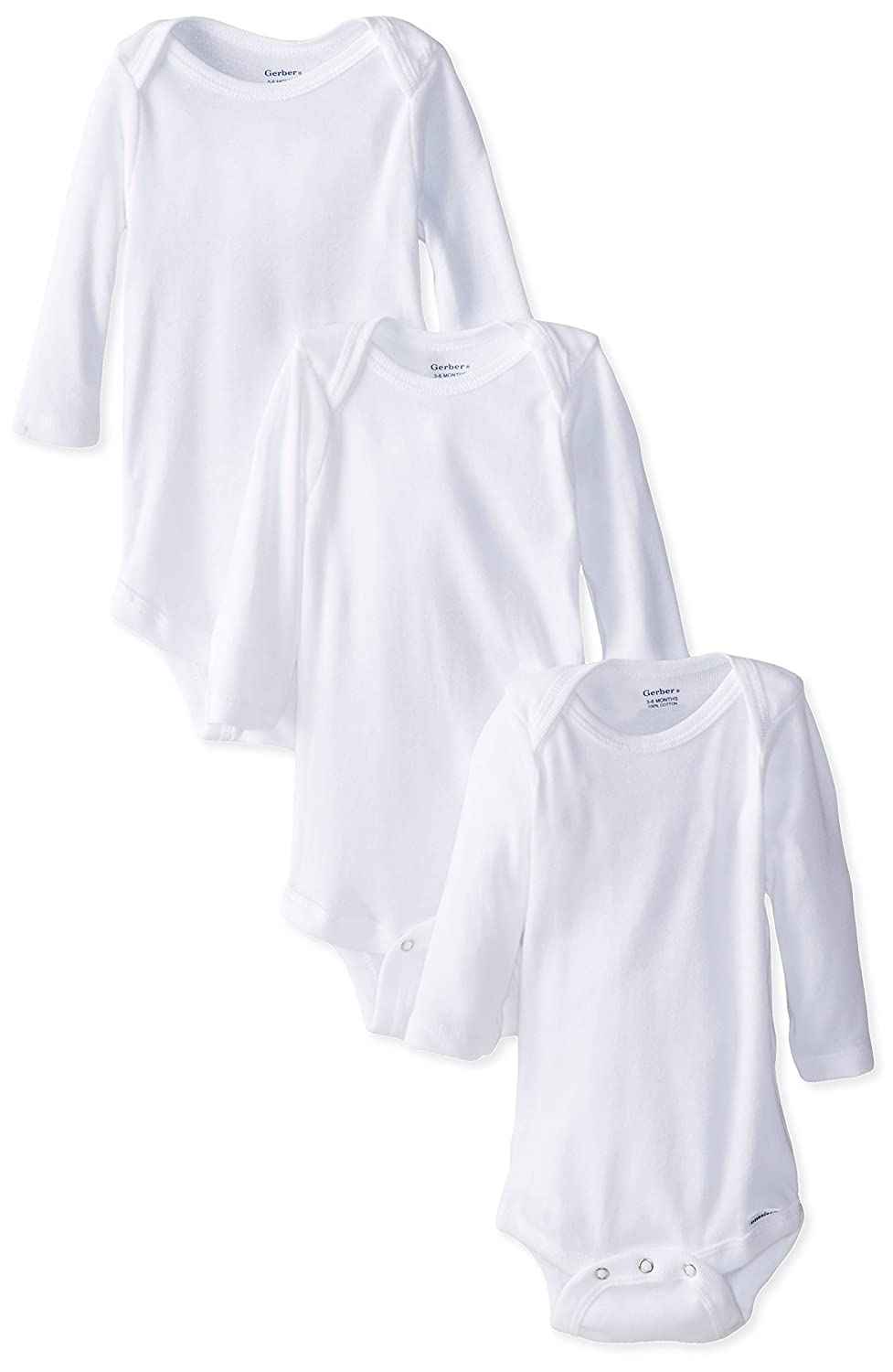 Gerber Baby Girls' 3 Pack Long Sleeve Onesies Gerber Children's Apparel