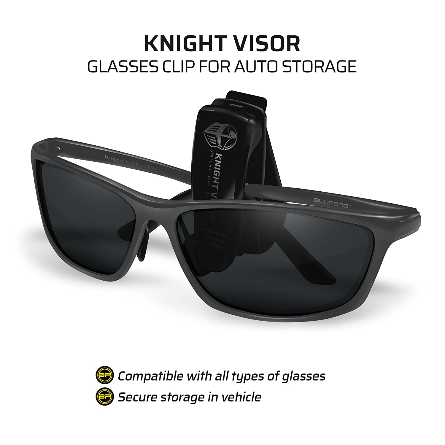 4fe1b114f0a BLUPOND Night Driving Glasses Unbreakable Metal Frame with Car Clip Holder  Knight Visor Semi Polarized Yellow Tint HD Vision Anti Glare Lens
