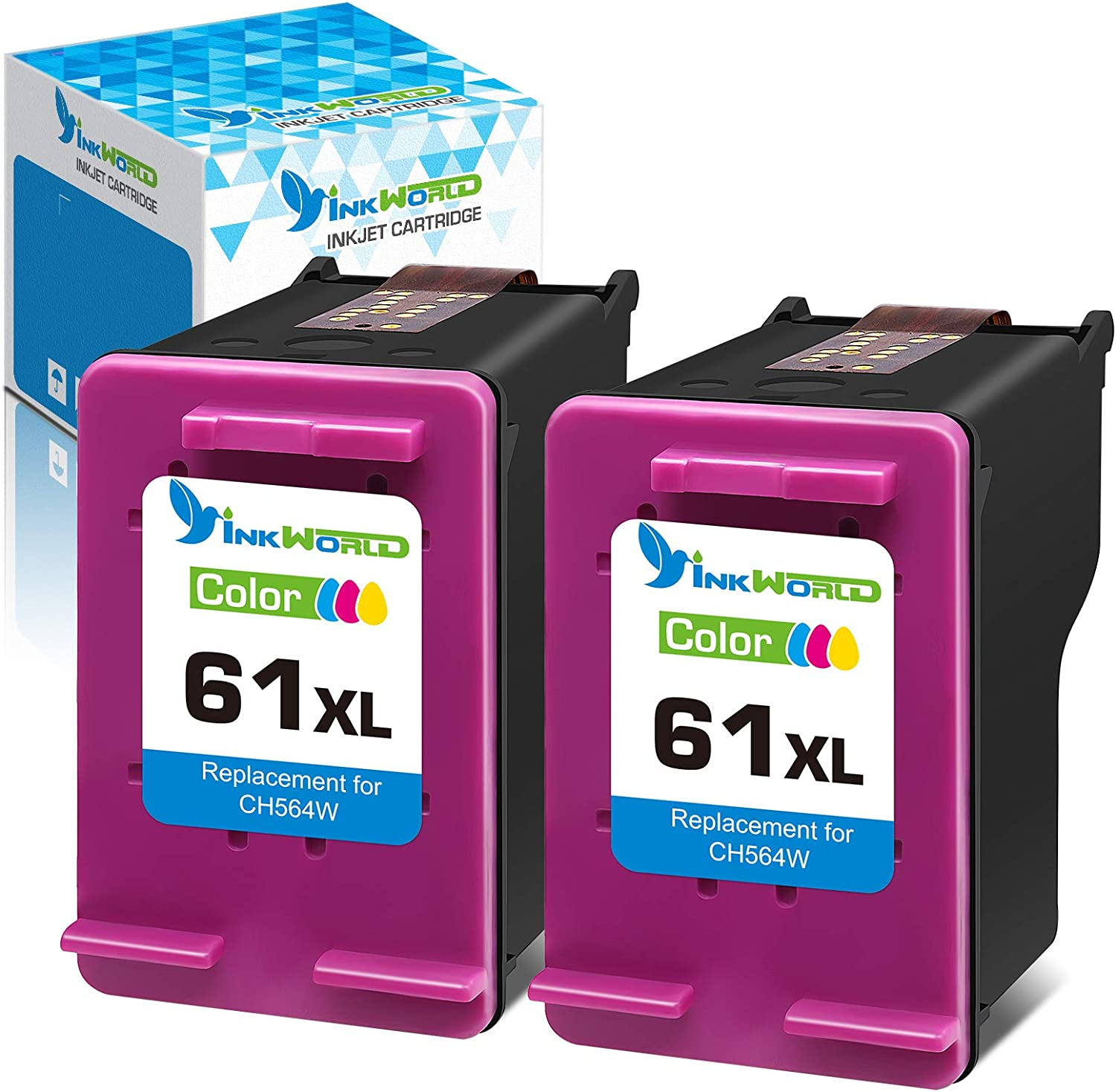 InkWorld Remanufactured 61XL Ink Cartridge Replacement for HP 61 Twin Color Used for Envy 4500 4502 5530 DeskJet 2512 1512 2542 2540 2544 3000 3052a 1055 3051a 2548 OfficeJet 4630 Printer (2 TriColor)