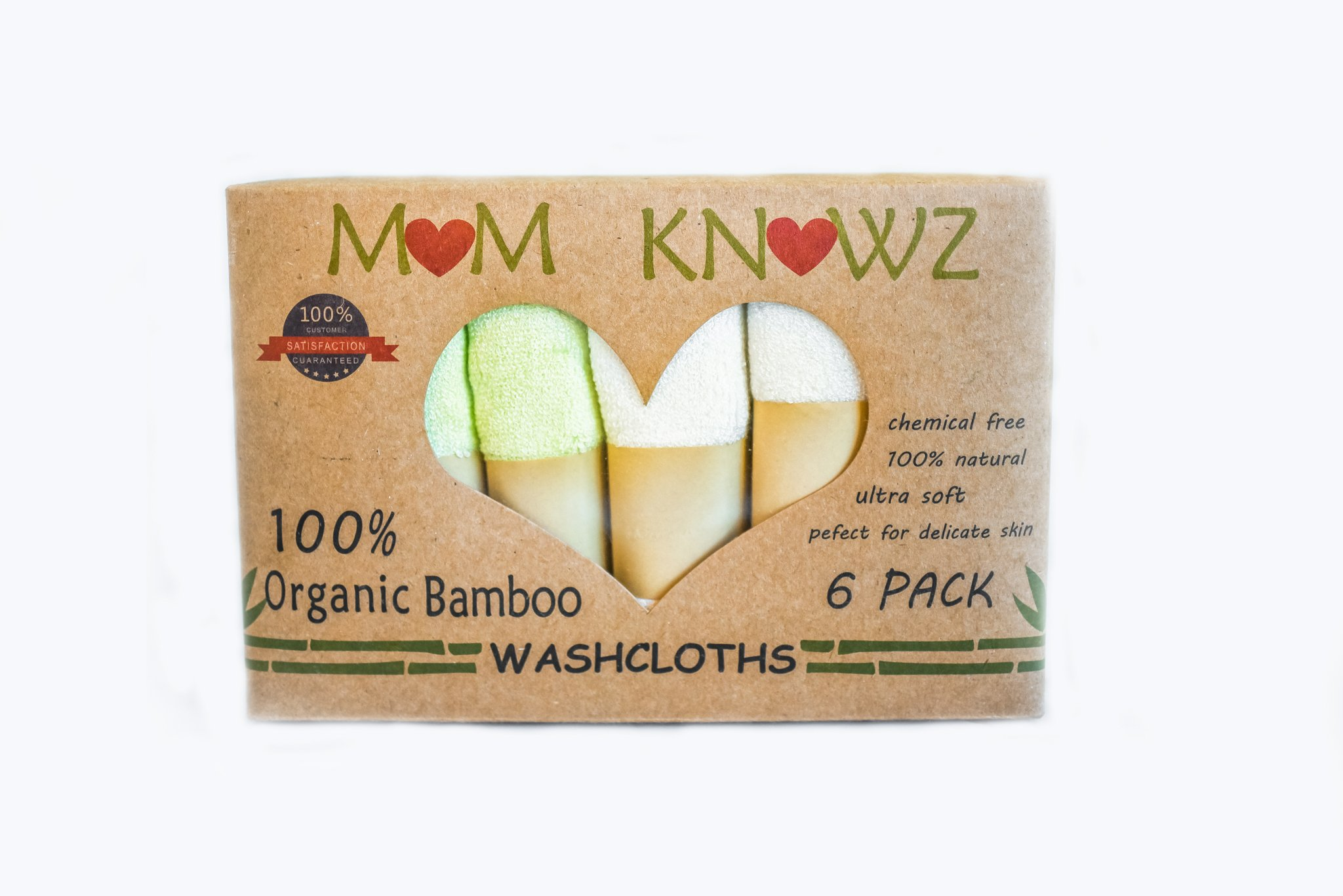Washcloths by MOM KNOWZ 100% Organic Bamboo washcloth/facecloth Towels. Ultra Soft, Hypoallergenic Perfect for Delicate Sensitive Skin, Eczema or as Baby Wipes. Shower Gift or Baby Registry. by MOM KNOWZ