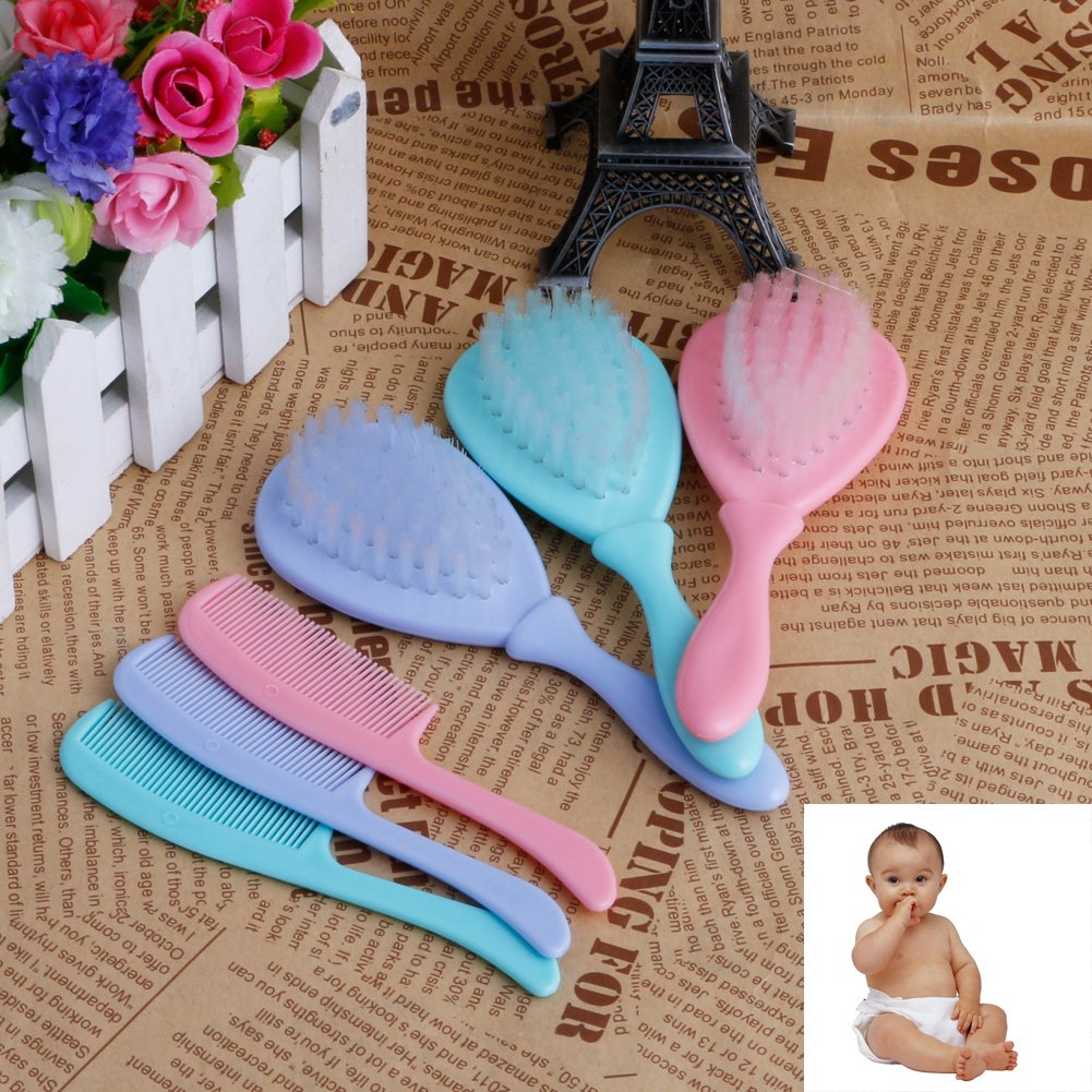 Stebcece 2pcs/Set Soft Safety Baby Hair Brush Infant Comb Gentle Shower Design Pack Kit