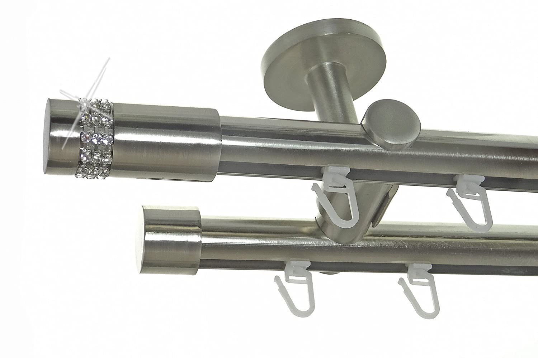 Innenlauf Gardinenstange Edelstahl Look 20mm Deckenbefestigung, 2-läufig Kristall, Länge wählbar D40 E38E30, Länge 280 cm
