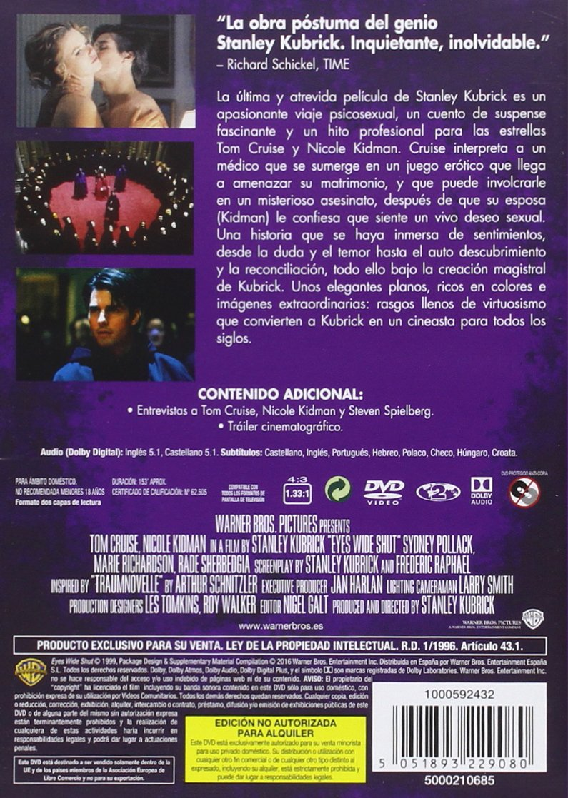 Kubrick: Eyes Wide Shut [DVD]: Amazon.es: Tom Cruise, Nicole Kidman, Sydney Pollack, Stanley Kubrick, Frederic Raphael: Cine y Series TV