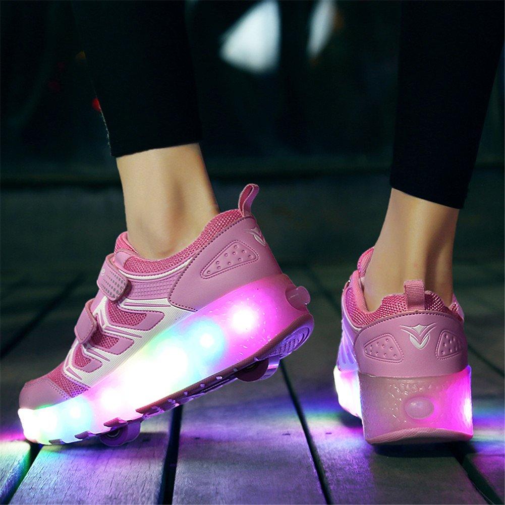 pour Filles Gar/çons et Gar/çons Unisexes Unique Double R/étractables Roues Rechargeables Chaussures de Patinage /à roulettes Lumineuses LED Sports de Plein Air KOWO Chaussures//Baskets /à LED