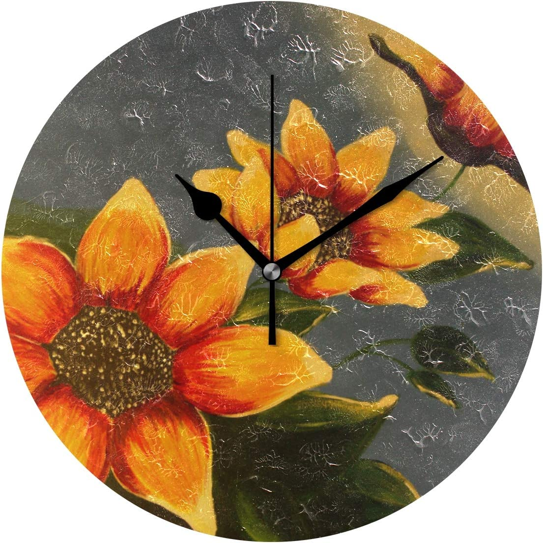Amazon Com Fajro Simple Flowers Painting Wall Clock Silent Round Decorative Wall Clock Home Kitchen