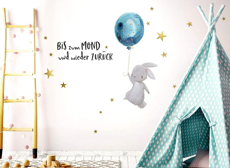 Little Deco Wandtattoo Bis zum Mond /& Hase mit Luftballon I 83 x 47 cm BxH I Kinderzimmer Babyzimmer Aufkleber Sticker Wandaufkleber Wandsticker Kinder DL133