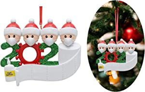 2020 Personalized Christmas Ornament Quarantine,DIY Christmas Decorations with Custom Name Christmas Tree Hanging Home Decorations 2 Persons-7 Persons… (White, Family of 4)