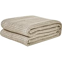 David's Home Cotton Waffle Weave Blankets Twin Size Soft Cozy Lightweight for Bed Couch Sofa Khaki