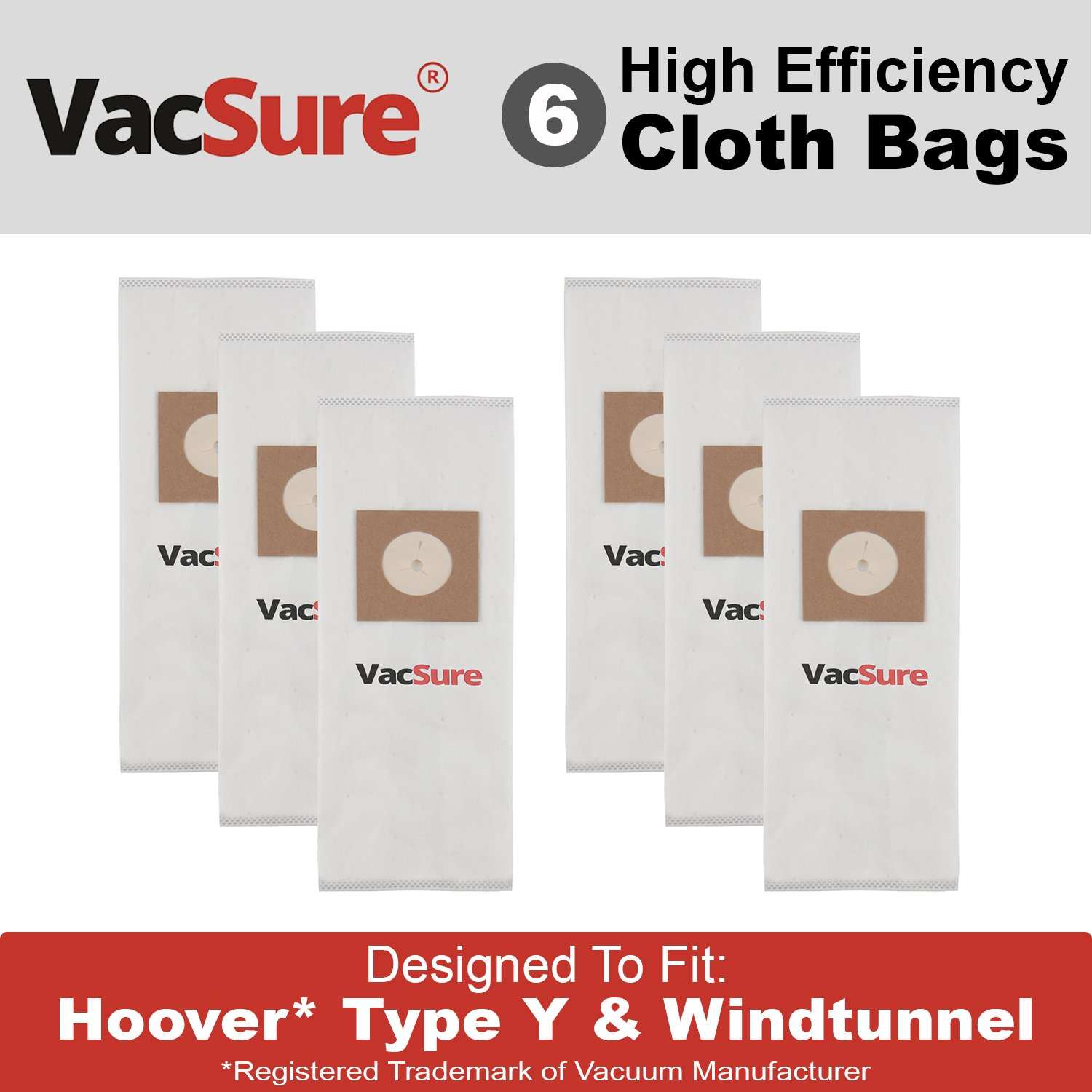 Hoover Hepa真空バッグタイプY & Z for Hoover Upright Vacs、by vacsure ホワイト VS-HV-YZ B072YZSSRY