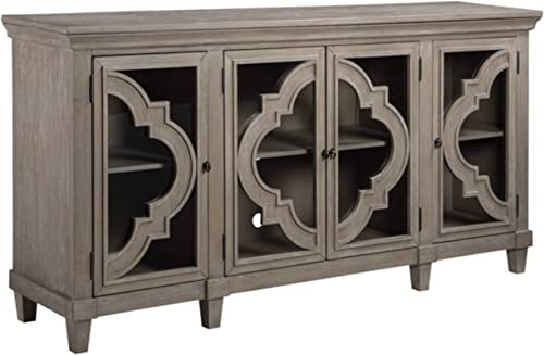 Signature Design by Ashley – Fossil Ridge 4-Door Accent Cabinet – Gray Finish – Black Metal Hardware – Quatrefoil Pattern on Glass Panel Doors