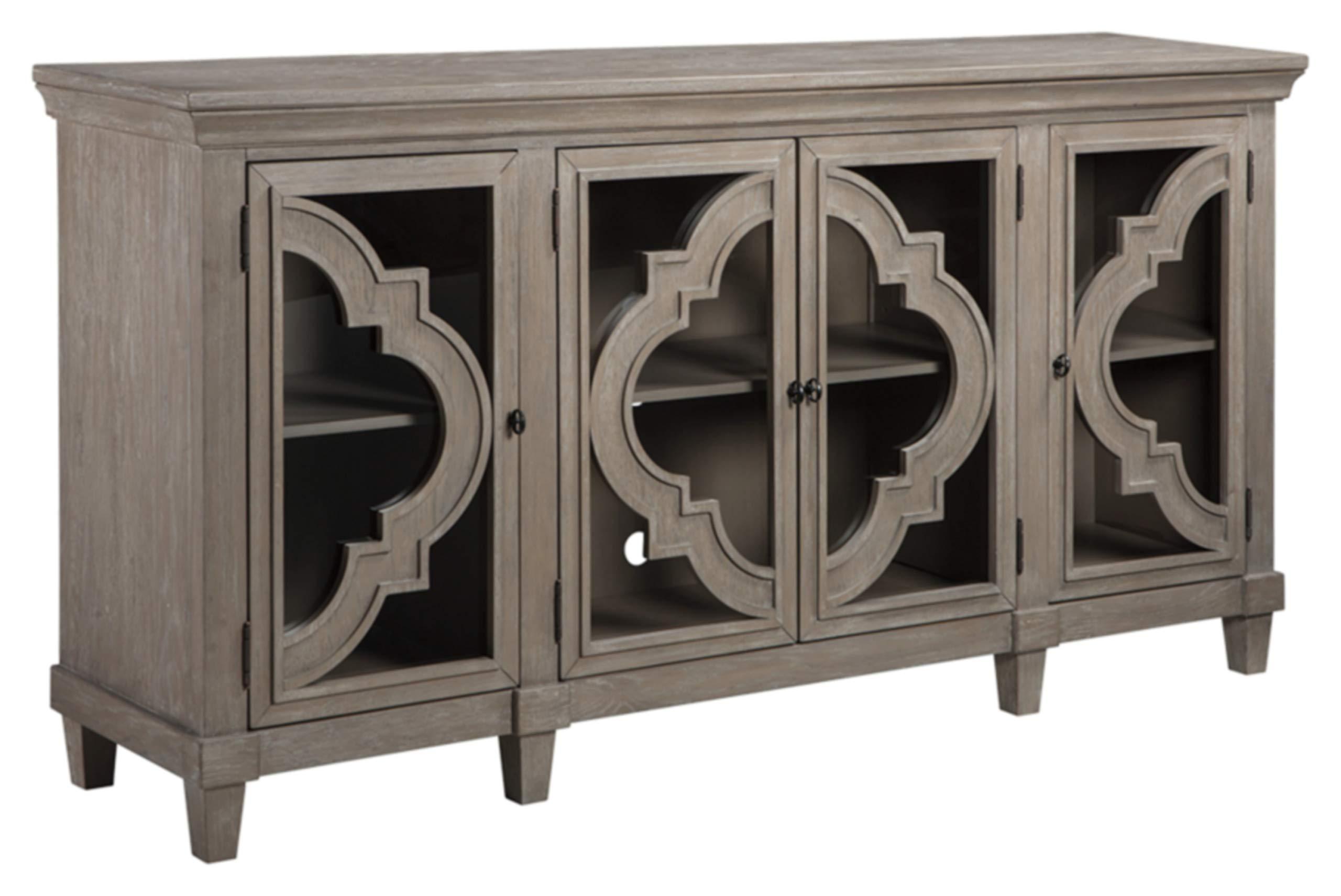 Ashley Furniture Signature Design - Fossil Ridge 4-Door Accent Cabinet - Gray Finish - Black Metal Hardware - Quatrefoil Pattern on Glass Panel Doors by Signature Design by Ashley