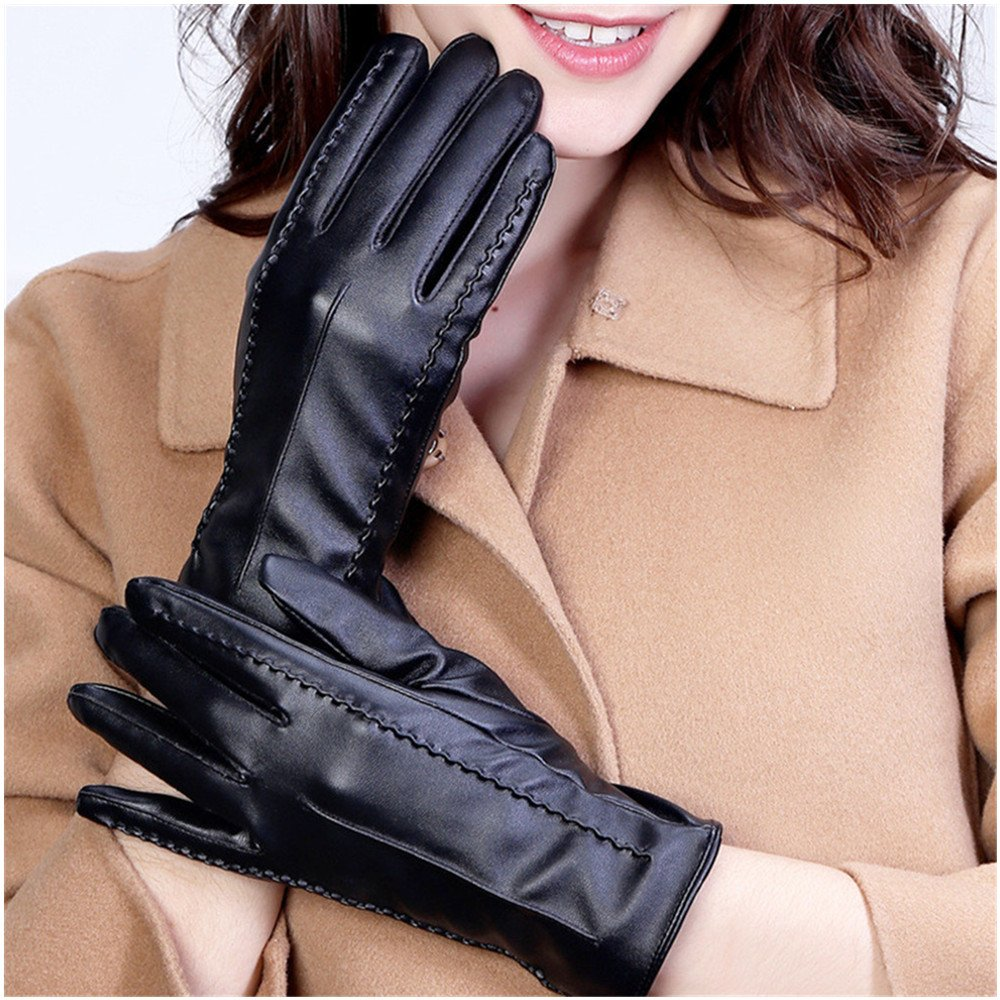Long Keeper Women's Touchscreen Texting Driving Winter Warm PU Leather Gloves … (Black) by Long Keeper (Image #3)