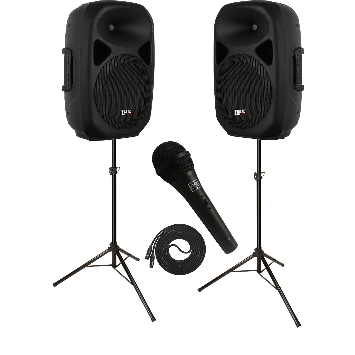 LyxPro SPEAKER KIT: 2 Speakers 15'' PA SYSTEMS w/ Onboard Equalizer, Bluetooth, SD CARD SLOT, USB, AUX Input, 2 SPEAKER STANDS and Microphone
