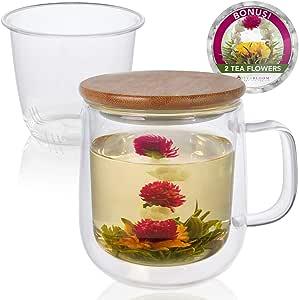 Teabloom Tea Brewing Mug Set – Large Insulated Glass Mug with Loose Leaf Tea Glass Infuser & Bamboo Lid/Coaster +2 Blooming Tea Flowers - Double Walled Borosilicate Glass & Bamboo Mug (450 ML / 15 OZ)