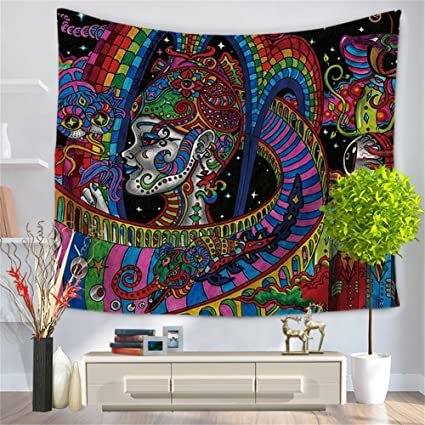 QEES Psychedelic Bohemian Wall Art Tapestry Colorful Abstract Trippy Tattoo  Style Spiritual Wall Hanging Decor For