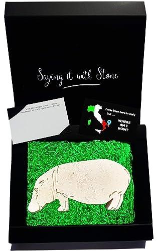 Carte Hippopotamus Italie 2.Hippopotame Fait A La Main En Italie Symbole De Courage Coffret