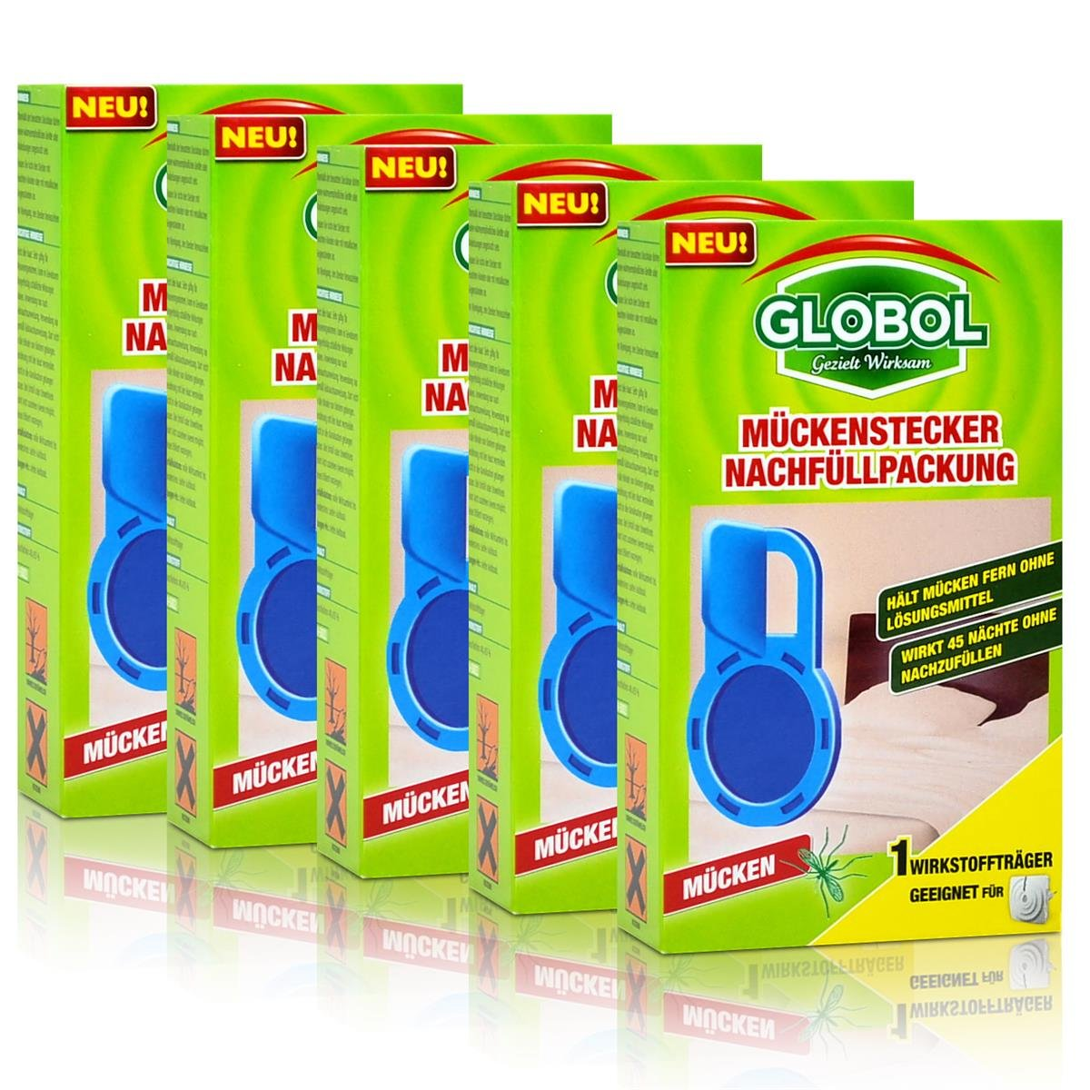 5x Globol Mückenstecker Nachfüllpackung - Wirkt 45 Nächte ohne nachzufüllen
