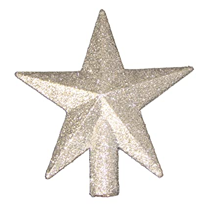 4 petite treasures silver glittered mini star christmas tree topper unlit