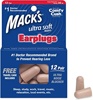 product image for Mack's Ultra Soft Foam Earplugs, 12 Pair - 32dB Highest NRR, Comfortable Ear Plugs for Sleeping, Snoring, Travel, Concerts, Studying, Loud Noise, Work
