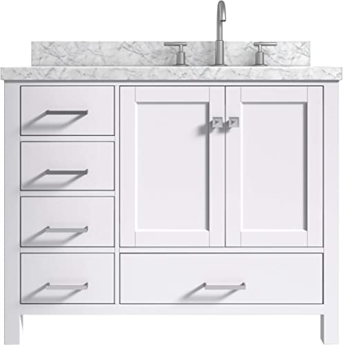 ARIEL 43″ inch Right Offset Oval Sink White Bathroom Vanity Cabinet