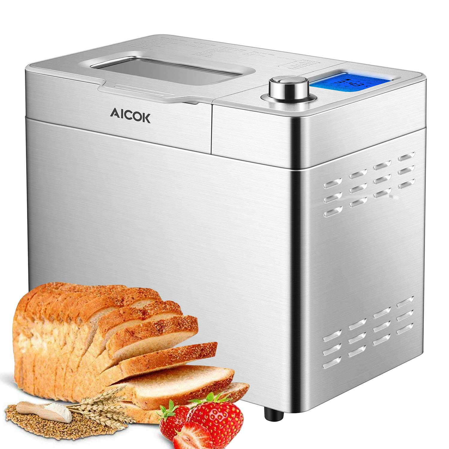 Breadmaker, Aicok 2 Pound Bread Maker Machine with Gluten Free Menu setting, 25 Programs, Large LED Display, One-Knob-Operation, Fruit&Nut Dispenser, FDA Certified, Fully Stainless Steel