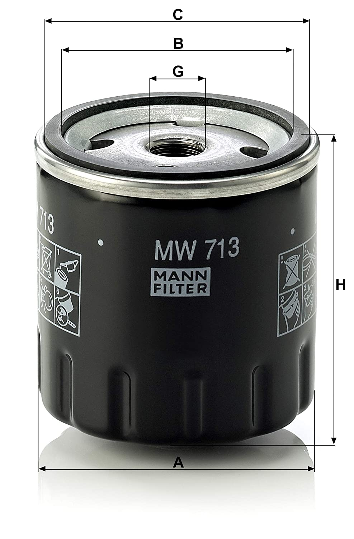 Mann Filter MW713 filtro de aceite lubricante: MANN-FILTER: Amazon.es: Coche y moto