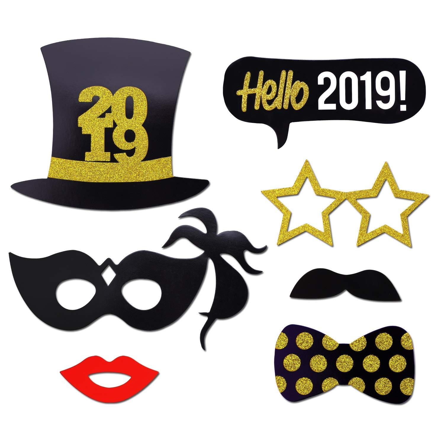 2019 New Years Photo Booth Props Kit21pcs Konsait Funny New Years