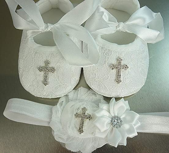 e26e775eca481 Christening Shoes and Headband Set, White Lace Baptism Footwear with Small  or Large Rhinestone Cross, Soft Crib Wedding Slippers, 1st Birthday, ...