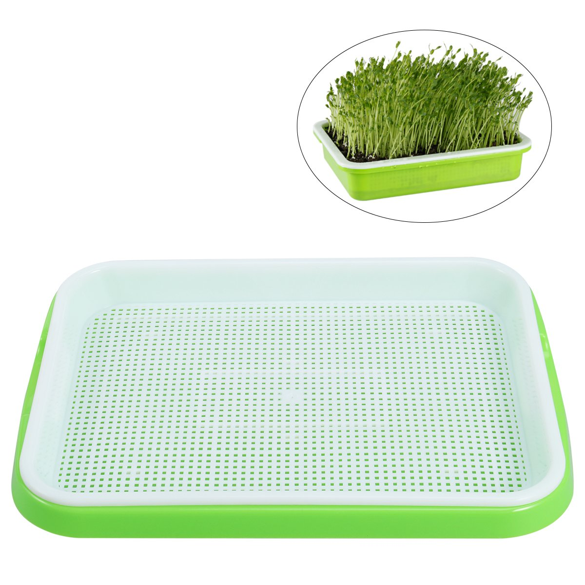OUNONA Seed Sprouter Tray Soil-Free Food Grade PP Healthy Wheatgrass Grower