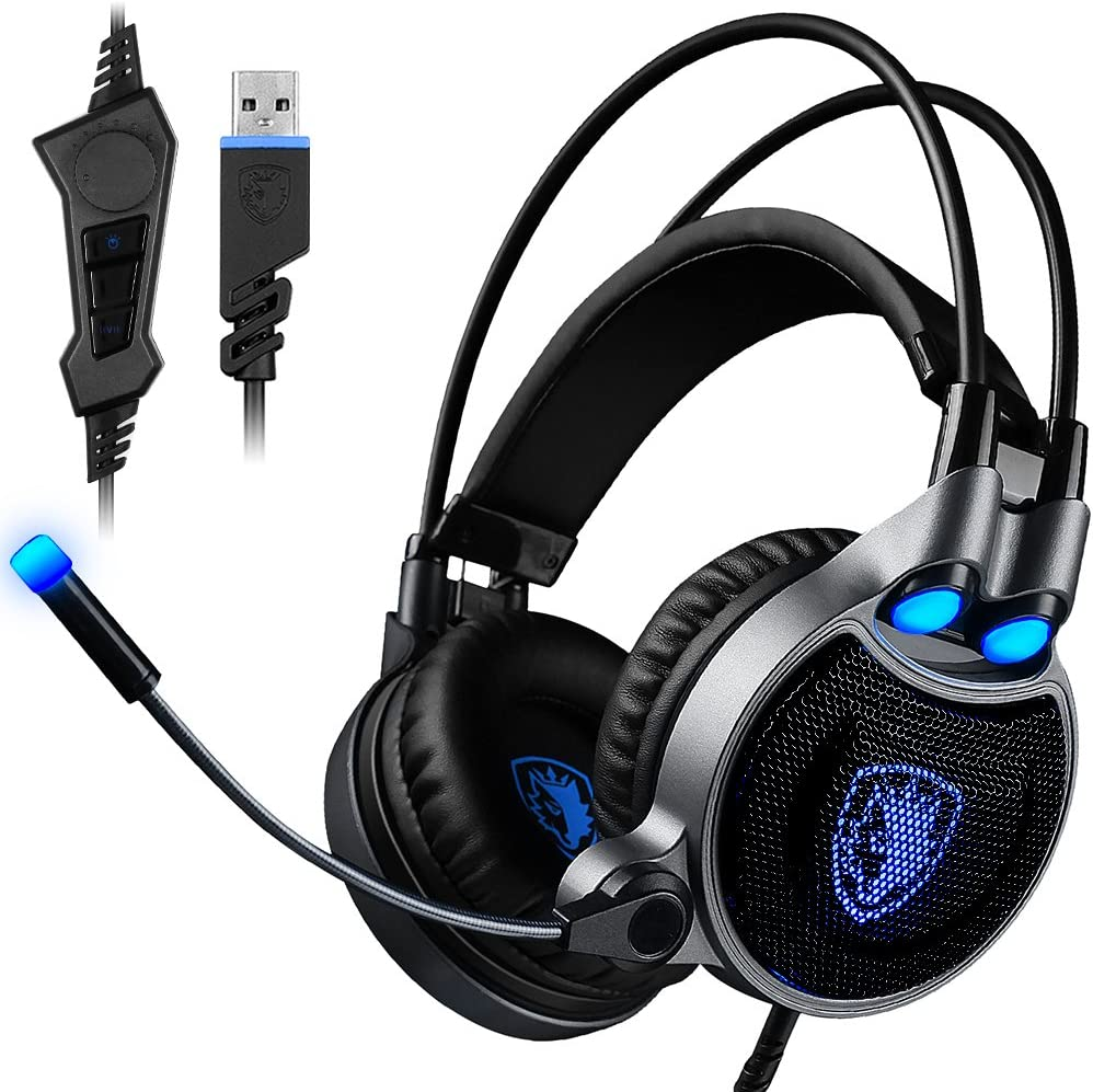 USB Gaming Headset for PC Laptop Mac, SADES R1 7.1 Virtual Surround Sound Stereo Wired Headphone with Microphone in-line Control by AFUNTA – Black Blue