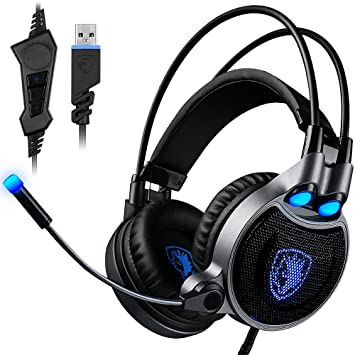 Auricular de juegos USB para PC portátil Mac, SADES R1 7.1 Virtual sonido envolvente estéreo auriculares con micrófono en línea de control de AFUNTA: ...