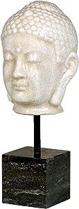 Emissary Home & Garden Buddha Head WT CRCKL W/Post ON Marble 8X18 H, 18