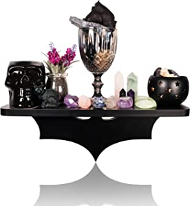 Bat Shelf Gothic Home Decor - Unique Goth Room Decor and Wiccan Decor Black Hanging Shelves for Wall Oddities and Curiosities Witchy Room Decor, Great Crystal Shelf Display for Stones or Goth Candles