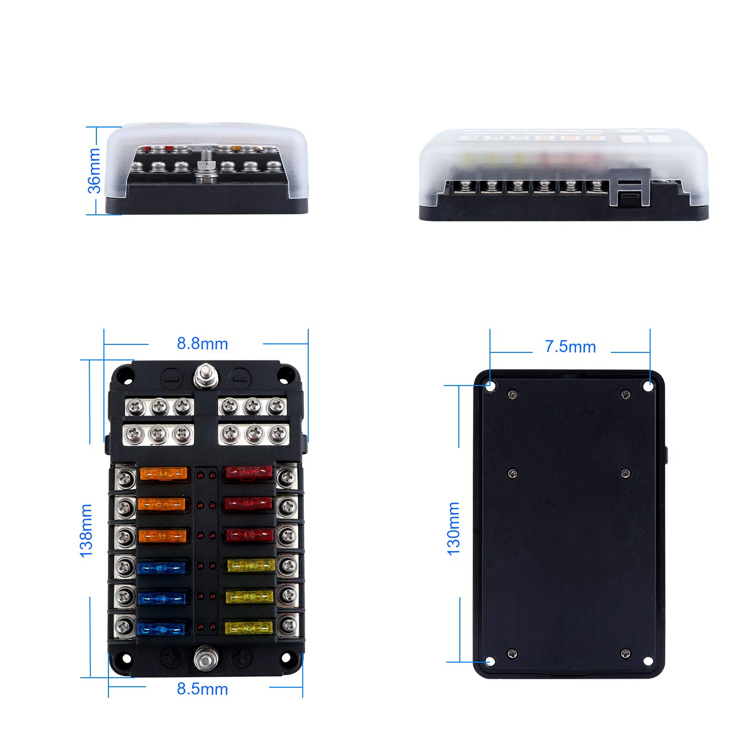 OCR Fuse Box with Negative Bus 12 Way Blade Fuses Holder Block with LED Indicator and Damp-Proof Cover for Boat Van Car Truck Marine