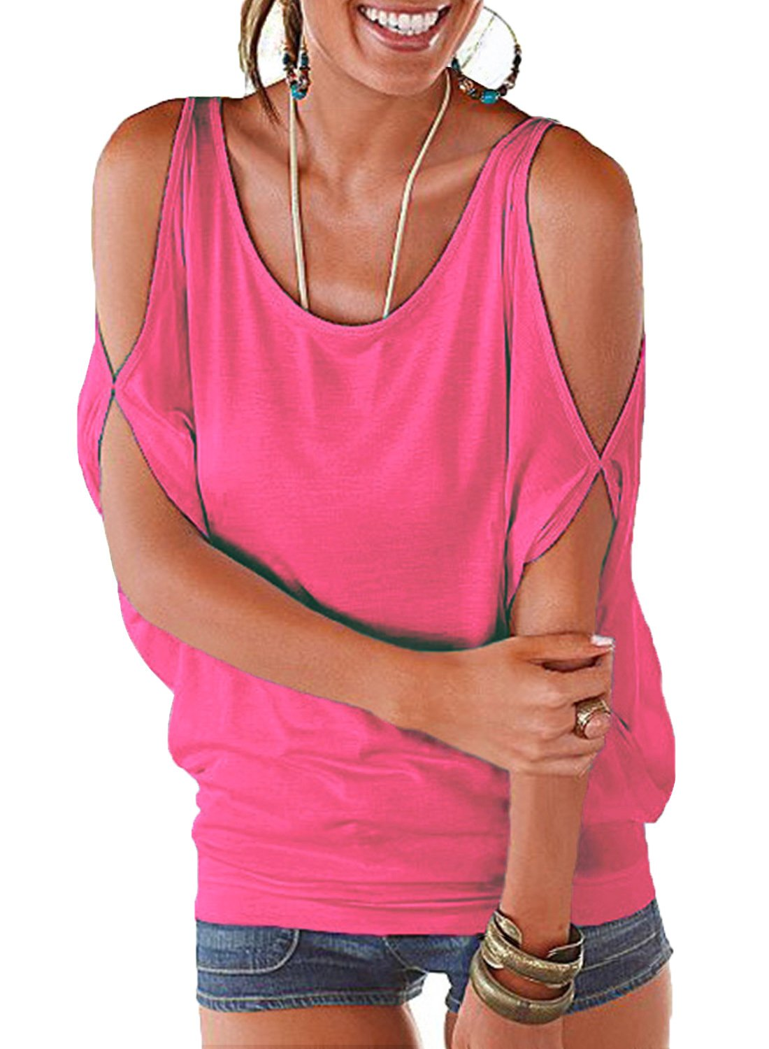 Ranphee Hot Pink Summer T Shirt Women Short Sleeve Cold Shoulder Loose Fit Pullover Casual Top