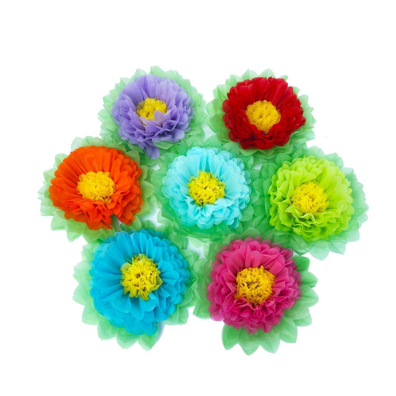 Tissue Paper Flowers Set Of 7 Pcs Rainbow Color Paper Pom Poms For