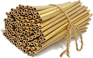 """IA Crafts Bamboo Sticks, Bamboo Straws, Bamboo Stakes Craft Supplies, for Crafts and DIY, Natural Bamboo Color, 5.7"""" – 5.9"""" Long and 0.11""""-0.13"""" in Diameter"""