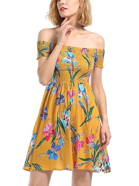 Vestido de Mujer, Lananas 2018 Mujer Verano Fuera del Hombro Flor Impresa Fiesta