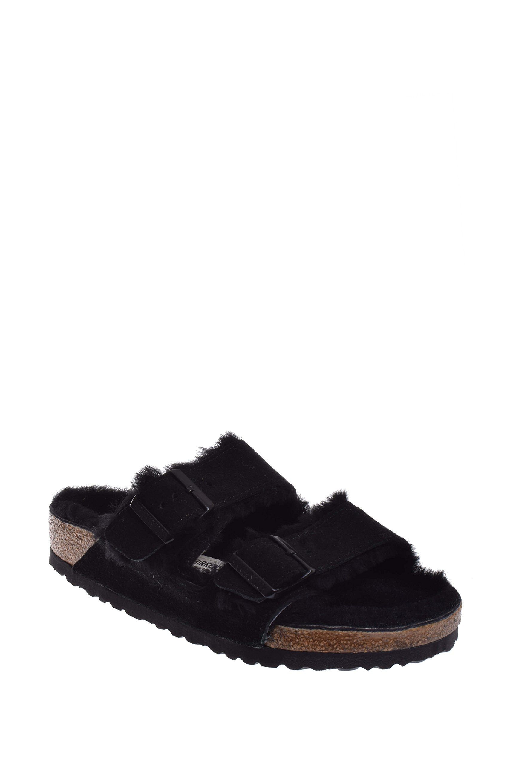 Birkenstock Unisex Arizona Shearling Lined Sandal, Black/Black Suede, 36 M EU