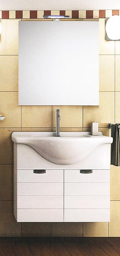 Mistermoby Mobile Bagno Moderno Sospeso con Lavabo e Specchiera a ...