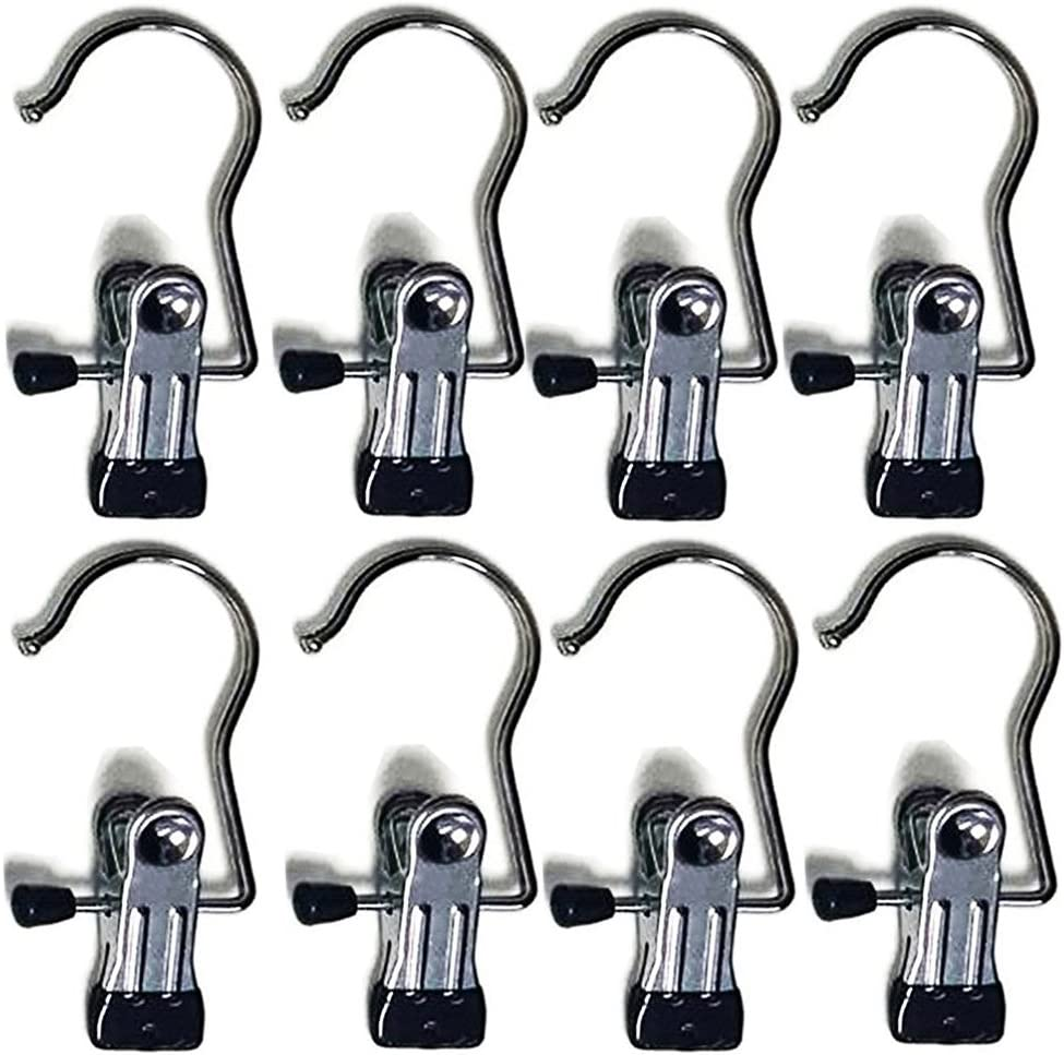 Ulifestar Clothes Towel Clips Pins Hooks for Hanging,Laundry Organizer, Portable Clothing Boot Shoes Holder Hanger Socks Underpant Bed Sheets Clamps for Home Storage,Metal Utility Closet Hooks 8 Pack